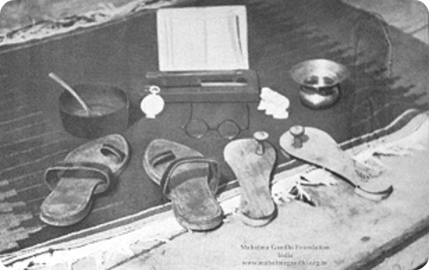 Picture of Gandhi's accumulated lifetime possessions